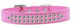 BLING DOG COLLARS: Dog Collar in Various Sizes & Colors USA by Mirage - TWO ROWS CLEAR CRYSTALS