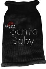 Dog Sweaters: Rhinestone SANTA BABY Acrylic Knit Dog Sweater in Variety of Colors & Sizes - Mirage