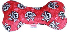 """PET TOYS: Plush Fabric 6"""" Bone Shape Pet Toy RED SKULL Made in USA by MiragePetProducts"""