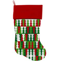 "DOG CHRISTMAS STOCKING: High Quality Velvet 18"" Long Christmas Dog Stocking - CLASSY CHRISTMAS TREES"