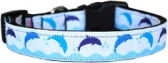 Dog Collars: Nylon Ribbon Dog Collar by Mirage Pet Products USA - BLUE DOLPHINS
