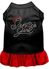 DOG DRESSES: Rhinestone Dress SANTA GIRL Poly/Cotton with Ruffle Trim Various Colors & Sizes by Mirage