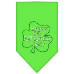 Dog Bandanas: Rhinestone Dog Bandana 'HAPPY ST PATRICKS DAY' Different Colors Sizes Small or Large by Mirage USA