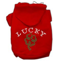 Dog Hoodies: Cute Rhinestone FOUR LEAF CLOVER Dog Hoodie by Mirage Pet Products USA