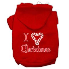 Dog Hoodies: I 'HEART' CHRISTMAS Screen Print Dog Hoodie in Various Colors & Sizes by MiragePetProducts