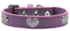 Dog Collars: CLEAR CRYSTAL HEARTS on Premium Durable Dog Collar in Different Colors & Sizes Made in USA by MiragePetProducts