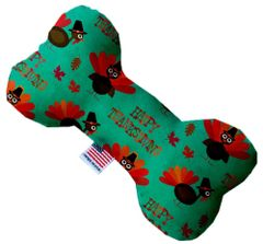 PET TOYS: Durable Fabric/Canvas Bone Shape Pet Toy HAPPY THANKSGIVING in 3 Sizes Made in USA by MiragePetProducts