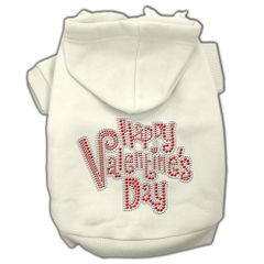 Dog Hoodies: Cute Rhinestone HAPPY VALENTINES DAY Dog Hoodie by Mirage Pet Products USA