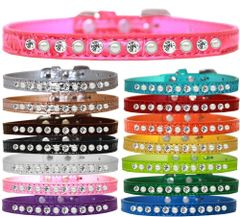 Dog Collars: Faux Croc Dog Collar with One Row Clear Jewels with Alternating Pearls 4 Different Sizes & 15 Color Choices. Made in USA