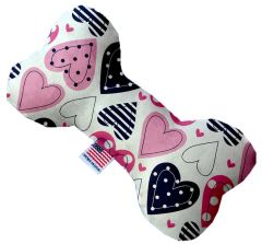 PET TOYS: Stuffing Free Plush Bone Shape Pet Toy with Squeakers MIXED HEARTS in 3 Sizes Made in USA by MiragePetProducts