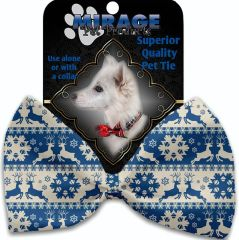 DOG BOW TIE: Decorative & Classy Silky Polyester Dog Tie with REINDEER in 5 Different Designs