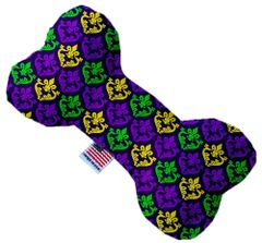 PET TOYS: Stuffing Free Plush Bone Shape Pet Toy with Squeakers CLASSIC FLEUR DE LIS in 3 Sizes Made in USA by MiragePetProducts