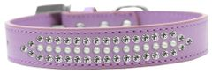 BLING DOG COLLARS: Dog Collar in Various Sizes & Colors - THREE ROWS RITZ PEARLS & CLEAR CRYSTALS