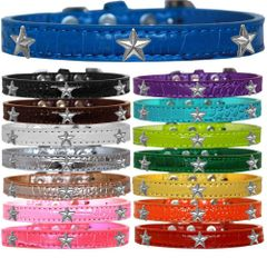 Dog Collars: Faux Croc Dog Collar with SILVER STAR Widgets in Different Colors & Sizes Made in USA by MiragePetProducts