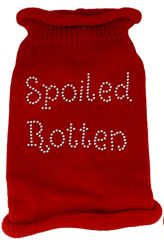 Dog Sweaters: Rhinestone SPOILED ROTTEN Acrylic Knit Dog Sweater in Different Colors & Sizes - Mirage