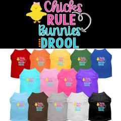 Dog Shirts: Easter Screen Print Dog Shirt in Various Colors & Sizes by Mirage - CHICKS RULE BUNNIES DROOLS
