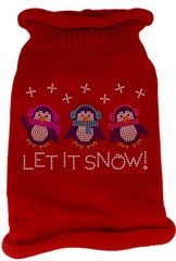Dog Sweaters: Rhinestones LET IT SNOW Acrylic Knit Dog Sweater in Different Colors & Sizes - Mirage