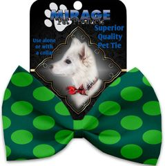 DOG BOW TIE: Decorative & Classy Silky Polyester Bow Tie for Dogs - GREEN ON GREEN DOTS