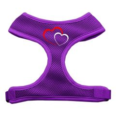 Dog Harnesses: Screen Print of a DOUBLE HEART Soft Mesh Dog Harness in Several Sizes & Colors USA