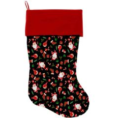 "DOG CHRISTMAS STOCKING: High Quality Velvet 18"" Long Christmas Dog Stocking - SANTA FUN"