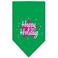 Dog Bandanas: Screen Print Cotton Dog Bandana 'SCRIBBLE HAPPY HOLIDAYS' Different Colors in Small or Large by Mirage USA