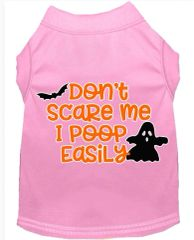 Dog Shirts: Halloween Screen Print Dog Shirt in Various Colors & Sizes by MiragePetProducts - DON'T SCARE ME I POOP EASILY