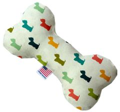 PET TOYS: Stuffing Free Plush Bone Shape Pet Toy with Squeakers IT IS A WESTIES' WORLD in 3 Sizes Made in USA by MiragePetProducts