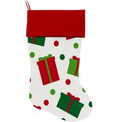 "DOG CHRISTMAS STOCKING: High Quality Velvet 18"" Long Christmas Dog Stocking - ALL THE PRESENTS"