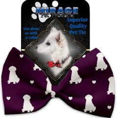 DOG BOW TIE: Decorative & Classy Silky Polyester Bow Tie for Dogs - PURPLE PUPPY LOVE