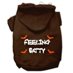 Dog Hoodies: FEELING BATTY Screen Print Dog Hoodie in Various Colors & Sizes by MiragePetProducts