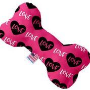 PET TOYS: Stuffing Free Plush Bone Shape Pet Toy with Squeakers PINK LOVE in 3 Sizes Made in USA by MiragePetProducts