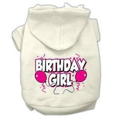 Dog Hoodies: BIRTHDAY GIRL Screen Print Dog Hoodie in Various Colors & Sizes by MiragePetProducts