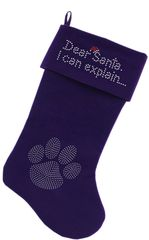 Dog Christmas Stockings: DEAR SANTA I CAN EXPLAIN in Rhinestones Christmas Stocking for Dogs in Several Colors
