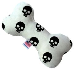 PET TOYS: Stuffing Free Plush Bone Shape Pet Toy with Squeakers SKULLS in 3 Sizes Made in USA by MiragePetProducts