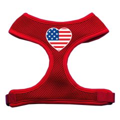 Dog Harnesses: Screen Print - HEART FLAG Soft Mesh Dog Harness in Several Sizes & Colors USA