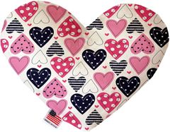 PET TOYS: Soft Velvety Fabric Heart Shape Pet Toy MIXED HEARTS in Two Sizes Made in USA by MiragePetProducts