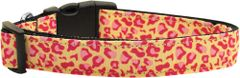 Dog Collars: Nylon Ribbon Collar by Mirage Pet Products USA - TAN AND PINK LEOPARD