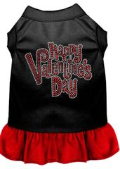 DOG DRESSES: Rhinestone Dress HAPPY VALENTINE'S DAY Poly/Cotton with Ruffle Trim Various Colors & Sizes by Mirage