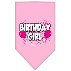 Dog Bandanas: Screen Print Cotton Dog Bandana 'BIRTHDAY GIRL' Different Colors in Small or Large by Mirage USA