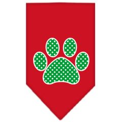 Dog Bandanas: Screen Print Cotton Dog Bandana 'GREEN SWISS DOT PAW' Different Colors in Small or Large by Mirage USA