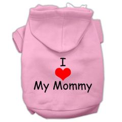 Dog Hoodies: I 'HEART' MY MOMMY Screen Print Dog Hoodie in Various Colors & Sizes by MiragePetProducts