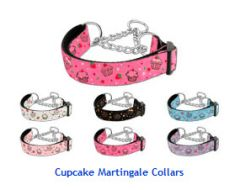 Martingale Dog Collars: CUPCAKES Nylon Ribbon Dog Collar Mirage Pet Products USA