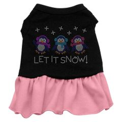 DOG DRESSES: Rhinestone Dress LET IT SNOW PENGUINS Poly/Cotton with Ruffle Trim in Colors & Various Sizes by Mirage