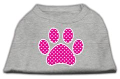 Dog Shirts: PINK SWISS DOT PAW Screen Print Dog Shirt in Various Colors & Sizes by Mirage