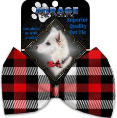 DOG BOW TIE: Decorative & Classy Silky Polyester Bow Tie for Dogs - RED & WHITE BUFFALO CHECK