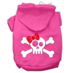 Dog Hoodies: SKULL CROSSBONE BOW Screen Print Dog Hoodie in Various Colors & Sizes by MiragePetProducts