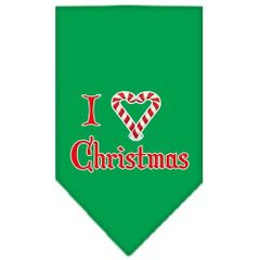 Dog Bandanas: Screen Print Cotton Dog Bandana 'I HEART CHRISTMAS' Different Colors in Small or Large by Mirage USA