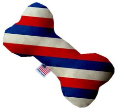 PET TOYS: Stuffing Free Plush Bone Shape Pet Toy with Squeakers PATRIOTIC STRIPES in 3 Sizes Made in USA by MiragePetProducts