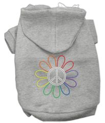 Dog Hoodies: RAINBOW, FLOWER, PEACE SIGN Rhinestones Dog Hoodie by Mirage Pet Products USA
