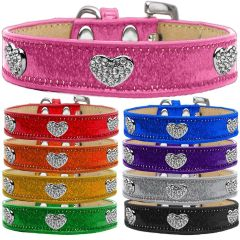 Dog Collars: CLEAR CRYSTAL HEARTS on ICE CREAM Durable Dog Collar in Different Colors & Sizes. Proudly made in USA by MiragePetProducts